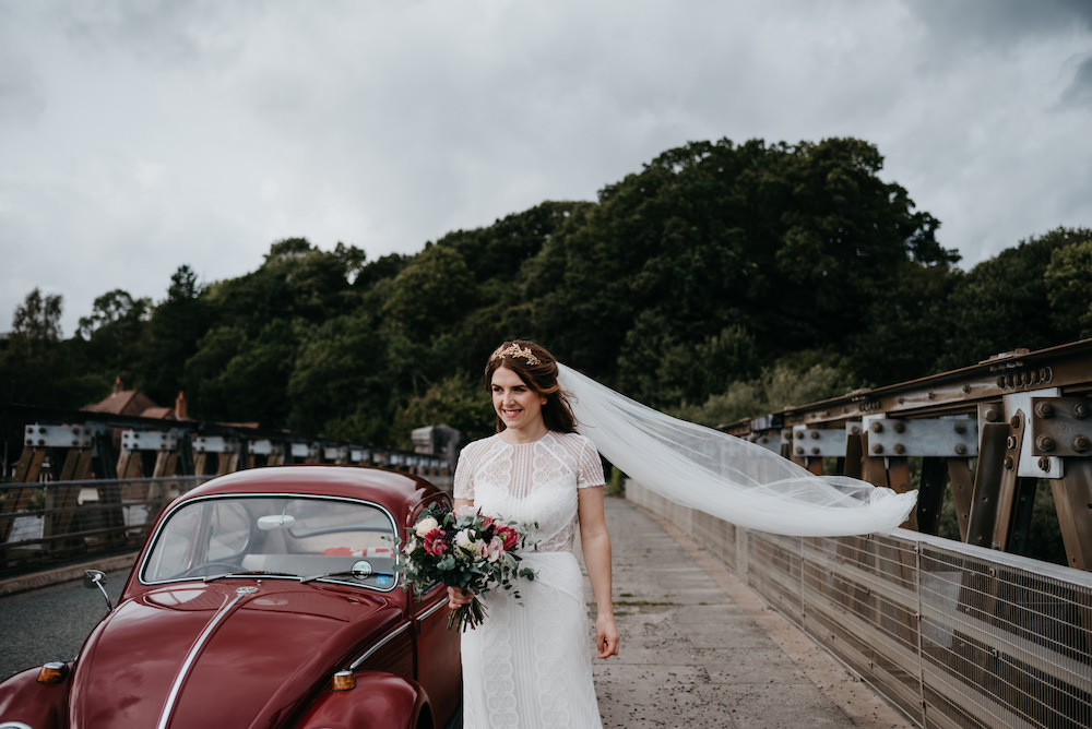 Dress Gown Bride Bridal Lenora Wtoo Watters Lace Sleeves Veil Bodnant Welsh Food Wedding Elaine Williams Photography