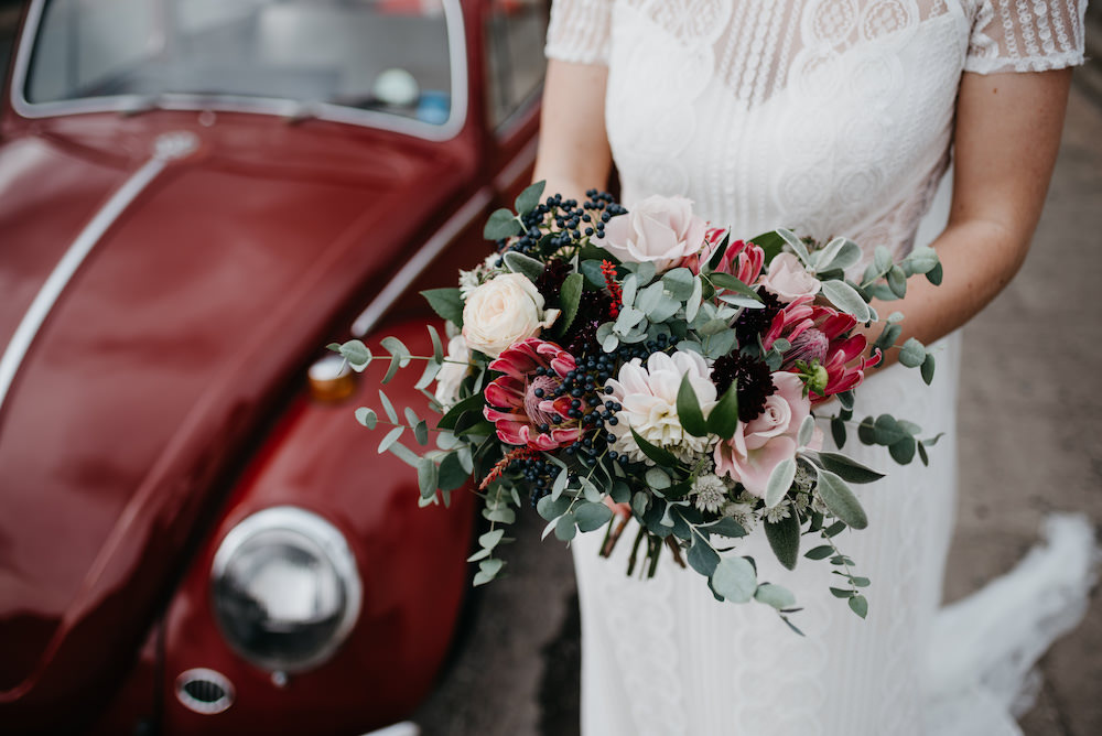 Bouquet Flowers Bride Bridal Greenery Foliage Proteas Dahlias Red Bodnant Welsh Food Wedding Elaine Williams Photography