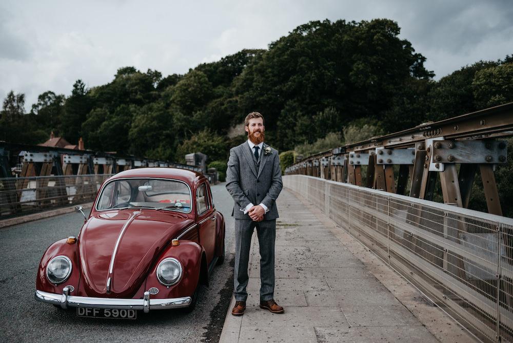 Groom Suit Grey Herringbone Wool Bodnant Welsh Food Wedding Elaine Williams Photography