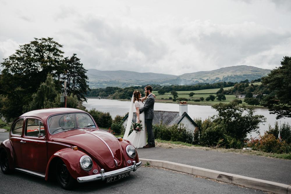 Red Beetle VW Car Transport Bodnant Welsh Food Wedding Elaine Williams Photography
