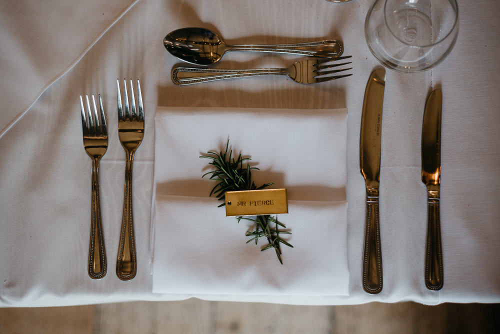 Rosemary Place Setting Name Card Brass Keyring Favour Bodnant Welsh Food Wedding Elaine Williams Photography