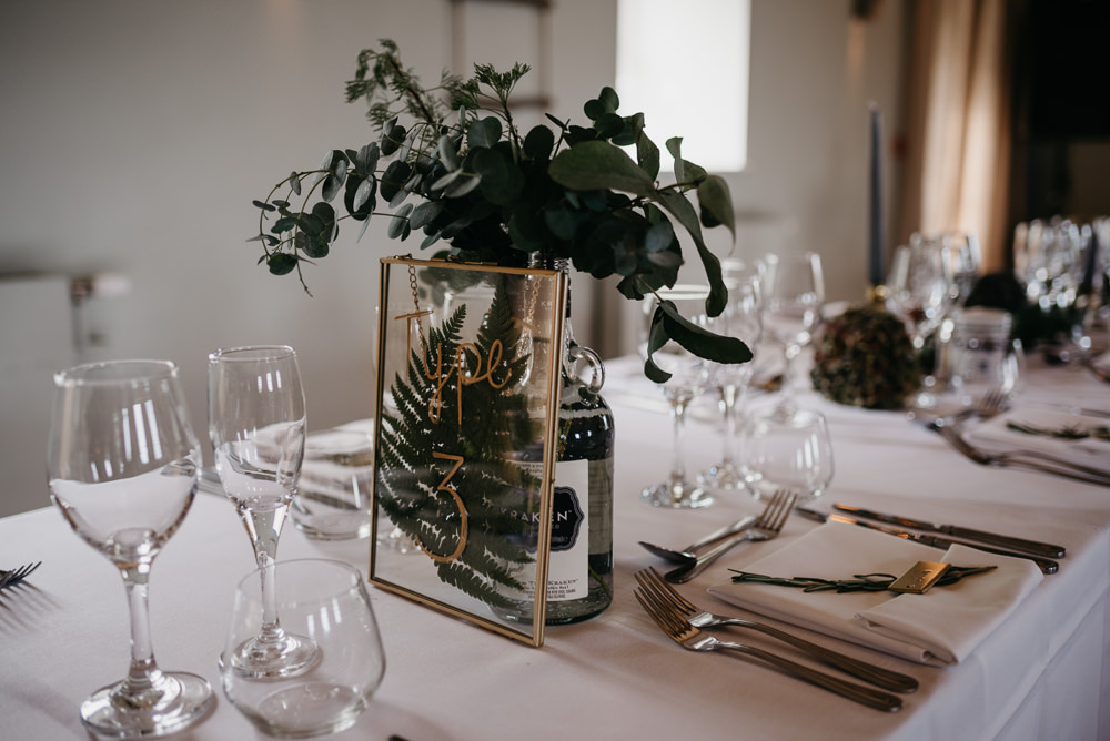 Table Flowers Greenery Foliage Bottles Glass Frame Table Number Bodnant Welsh Food Wedding Elaine Williams Photography