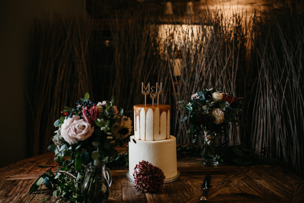 Cake Gold Drip Modern Topper Bodnant Welsh Food Wedding Elaine Williams Photography