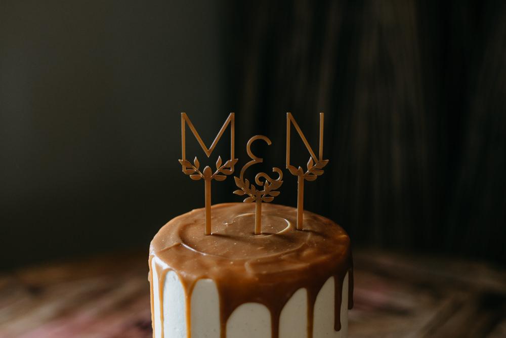 Cake Gold Drip Modern Topper Bodnant Welsh Food Wedding Elaine Williams Photography