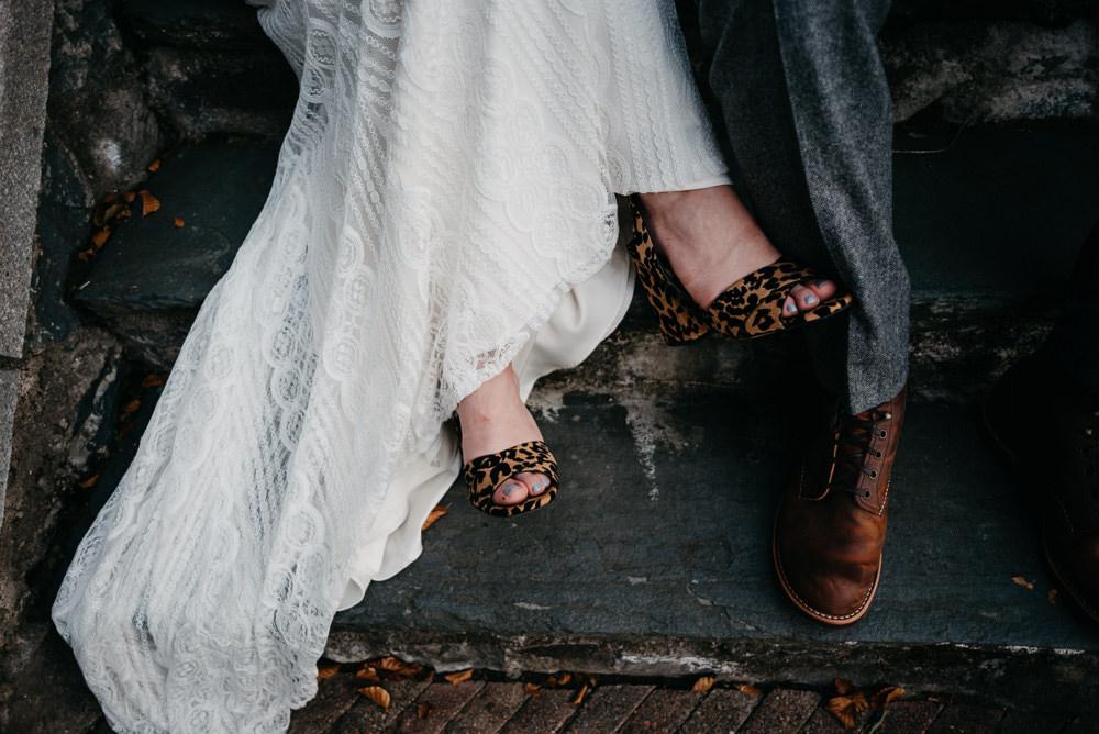 Leopard Print Shoes Bride Bridal Bodnant Welsh Food Wedding Elaine Williams Photography