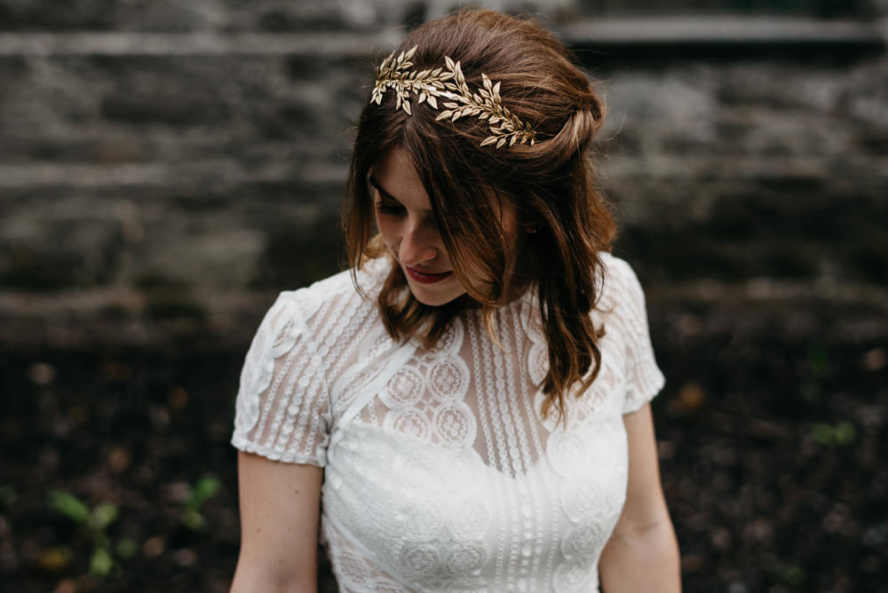 Bride Bridal Hair Piece Accessory Gold Bodnant Welsh Food Wedding Elaine Williams Photography