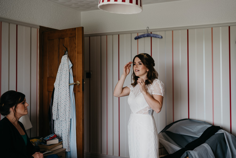 Dress Gown Bride Bridal Lenora Wtoo Watters Lace Sleeves Bodnant Welsh Food Wedding Elaine Williams Photography