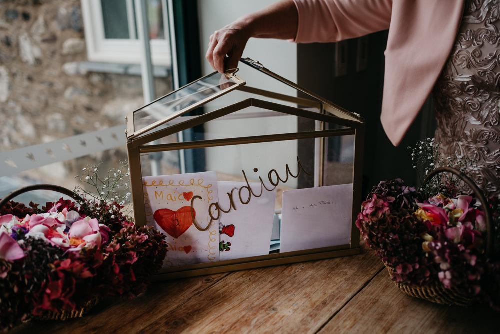 Card Box Glass Terrarium Bodnant Welsh Food Wedding Elaine Williams Photography