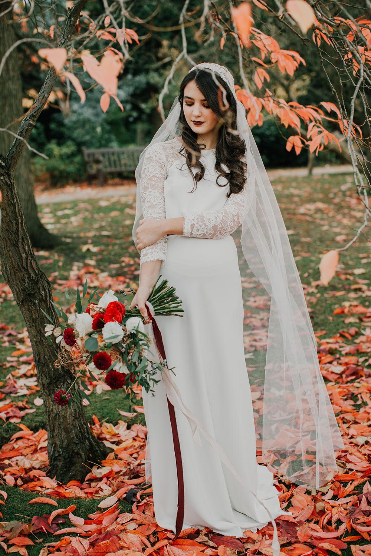 Dress Gown Bride Bridal Separates Two Piece Skirt Top Lace Sleeves Veil Bohemian Music Folk Wedding Ideas Gail Secker Photography