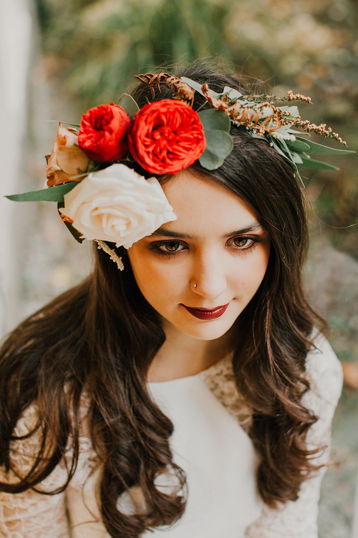 Flower Crown Headpiece Floral Hair Bride Bridal Bohemian Music Folk Wedding Ideas Gail Secker Photography