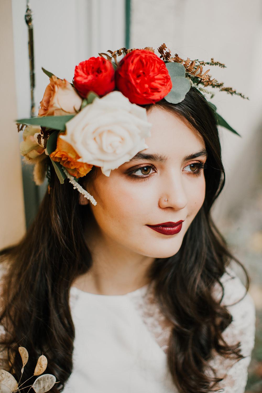 Bride Bridal Make Up Beauty Bohemian Music Folk Wedding Ideas Gail Secker Photography