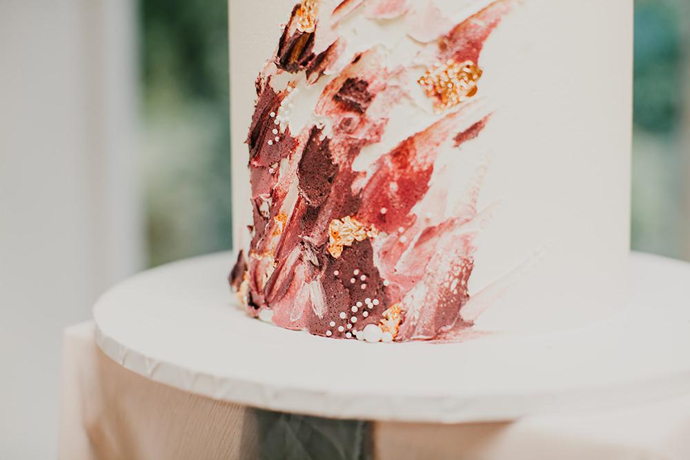 Cake Brush Strokes Red Gold Burgundy Bohemian Music Folk Wedding Ideas Gail Secker Photography