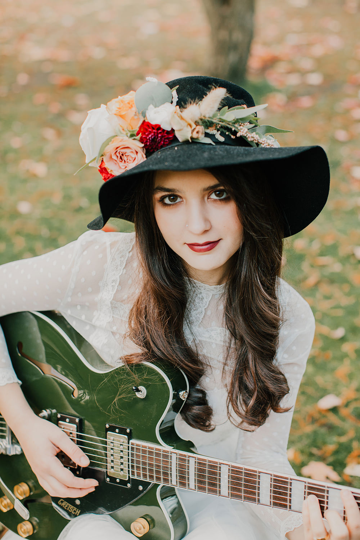 Bride Bridal Hat Accessory Floral Flowers Bohemian Music Folk Wedding Ideas Gail Secker Photography