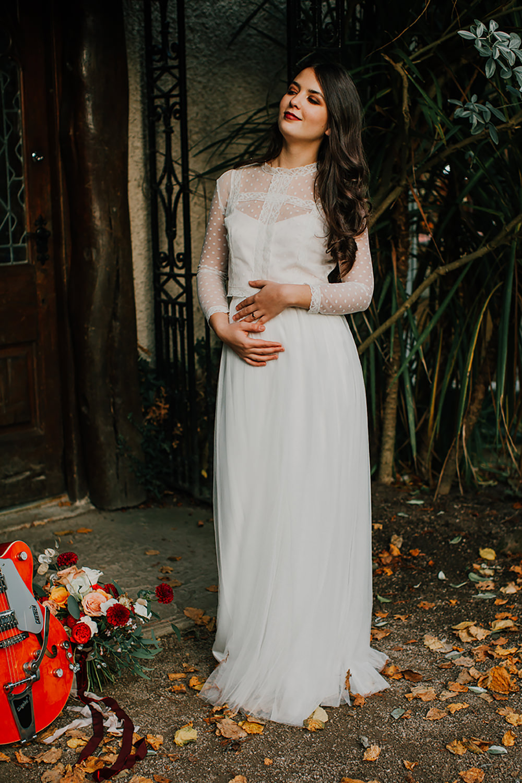 Dress Gown Bride Bridal Lace Sleeves Bohemian Music Folk Wedding Ideas Gail Secker Photography