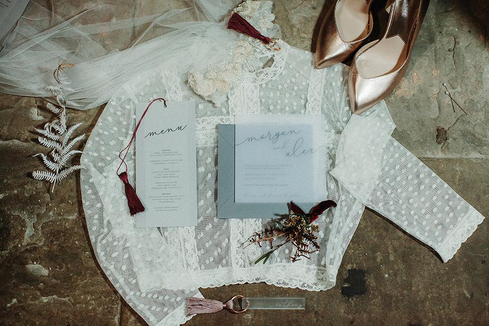 Stationery Invites Invitations Glassine Calligraphy Bohemian Music Folk Wedding Ideas Gail Secker Photography