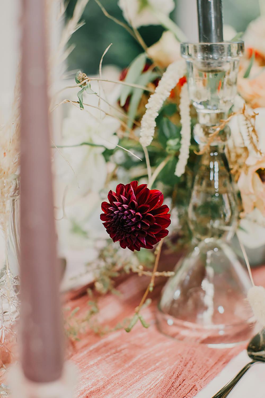Table Decor Flowers Tablescape Floral Dahlia Rose Bohemian Music Folk Wedding Ideas Gail Secker Photography