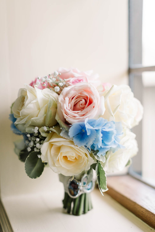 Bride Bridal Bouquet Hydrangea Rose Gypsophila Blue Pink White Brewerstreet Farmhouse Wedding Danielle Smith Photography
