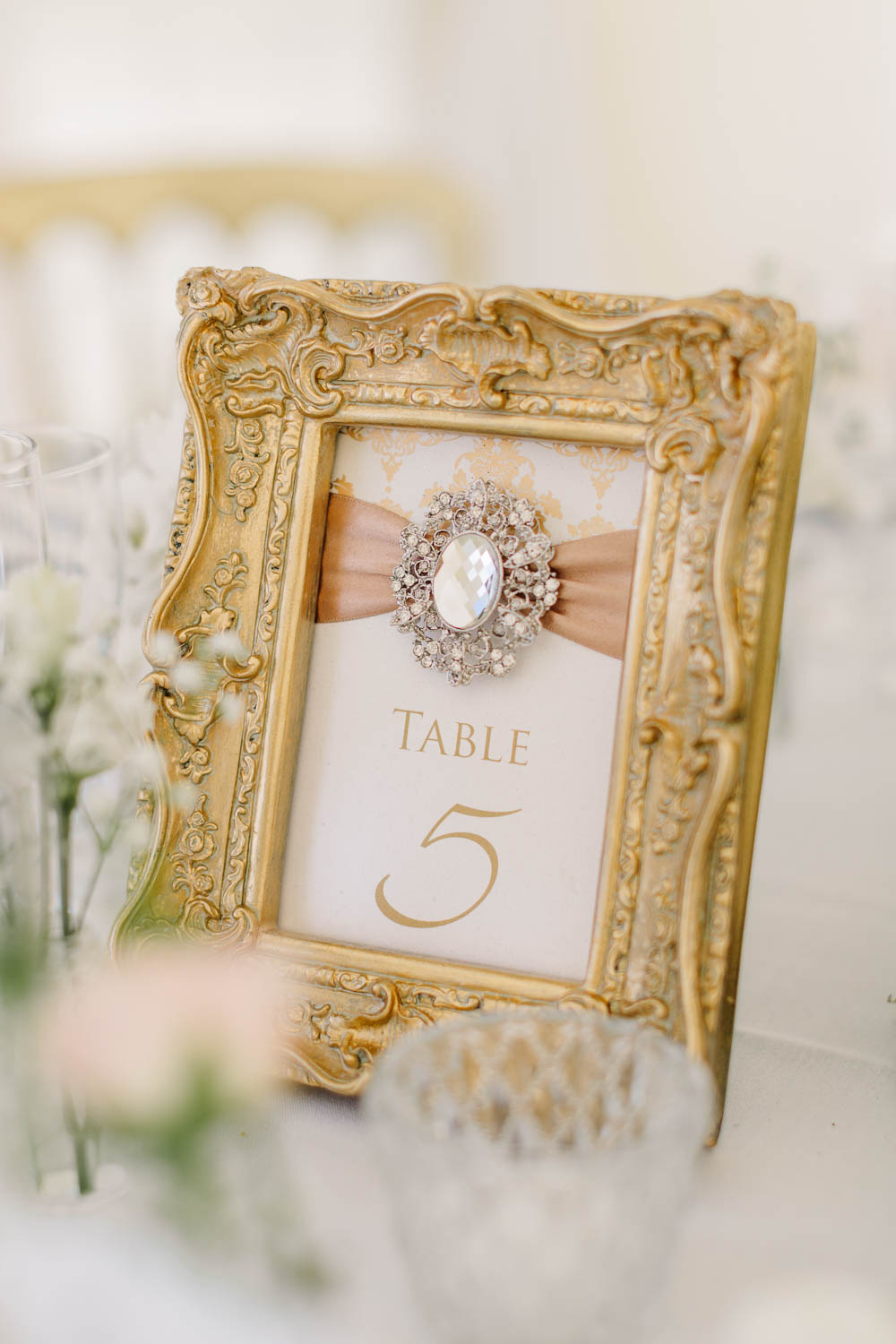 Table Number Gold Guilt Frame Classic Elegant Brewerstreet Farmhouse Wedding Danielle Smith Photography
