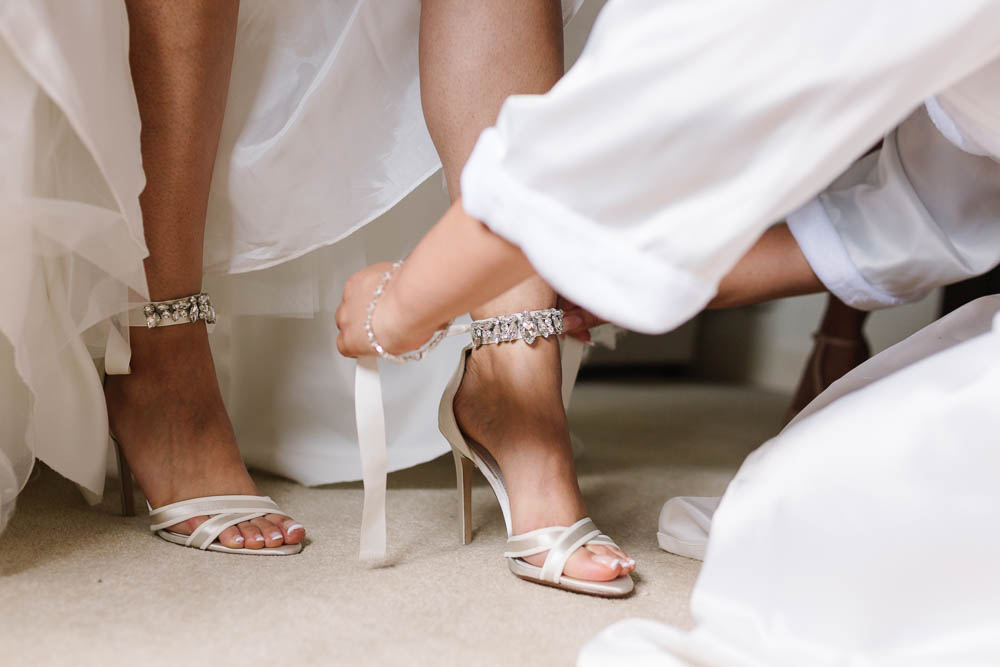 Bride Bridal Shoes Dune Ankle Cuff Open Toe Brewerstreet Farmhouse Wedding Danielle Smith Photography
