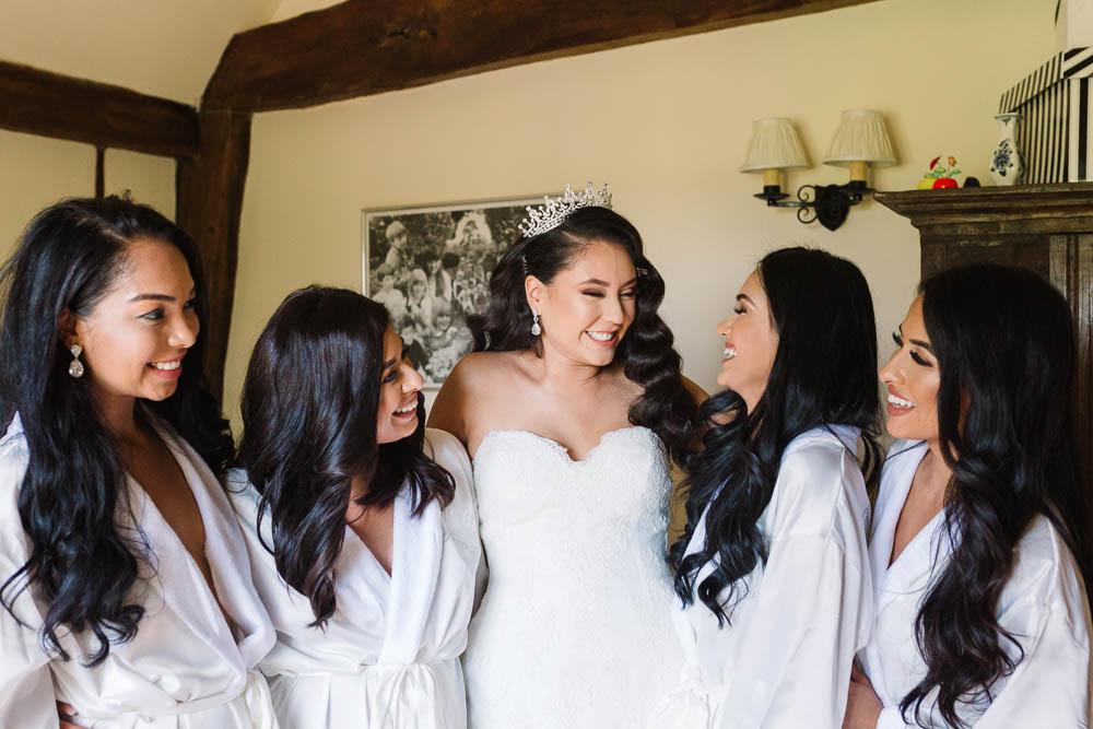 Bride Bridal Tiara Crown Sweetheart Neckline Lace Bridesmaids Robe Brewerstreet Farmhouse Wedding Danielle Smith Photography