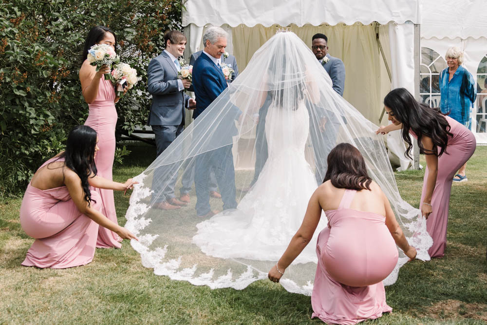 Bride Bridal Fishtail Dress Gown Fit & Flare Tiara Blue Suit Circular Veil Lace Veil Bouquet Rose Hydrangea Pink Bridesmaids Brewerstreet Farmhouse Wedding Danielle Smith Photography