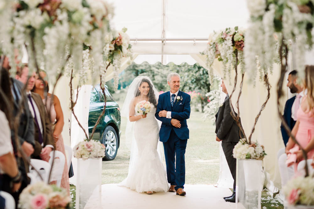 Bride Bridal Fishtail Dress Gown Fit & Flare Tiara Blue Suit Veil Bouquet Rose Hydrangea Brewerstreet Farmhouse Wedding Danielle Smith Photography