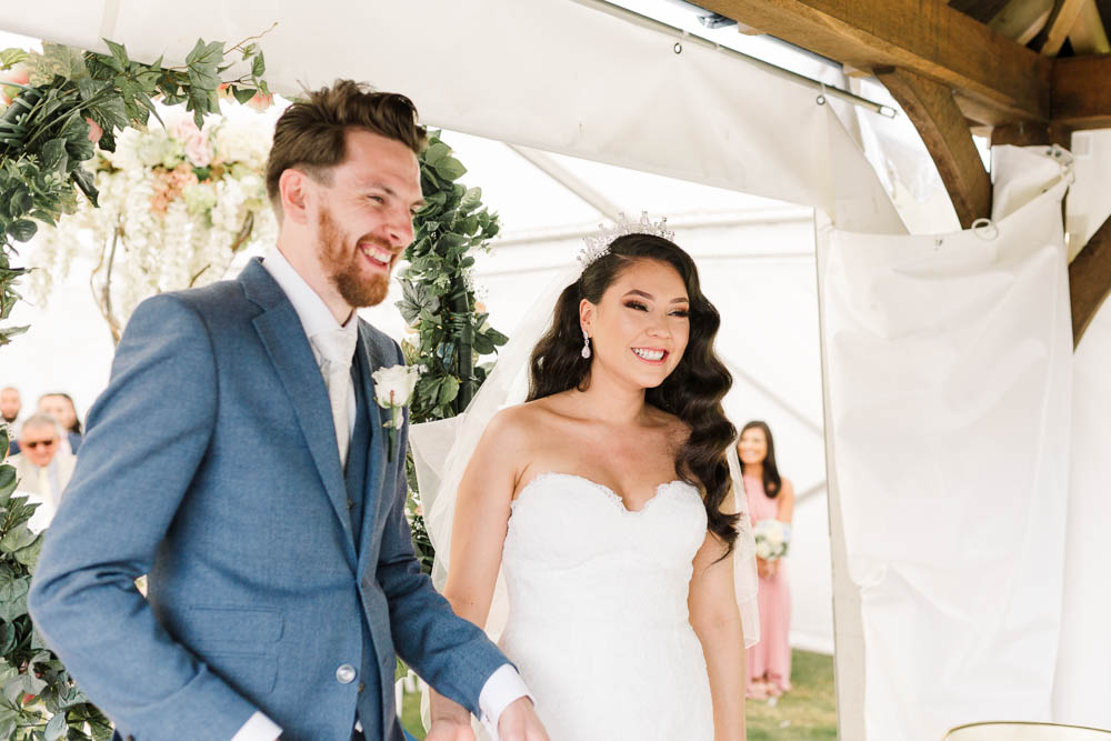 Bride Bridal Fishtail Dress Gown Fit & Flare Tiara Blue Suit Groom Veil Brewerstreet Farmhouse Wedding Danielle Smith Photography