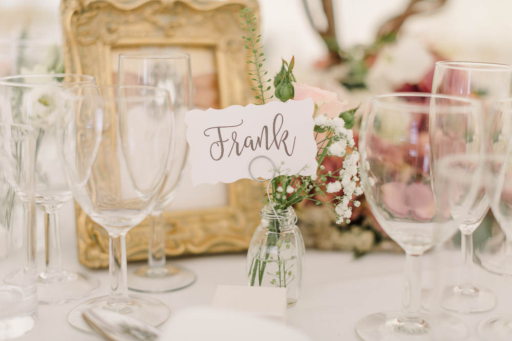 Bud Vase Gypsophila Place Card Name Calligraphy Brewerstreet Farmhouse Wedding Danielle Smith Photography