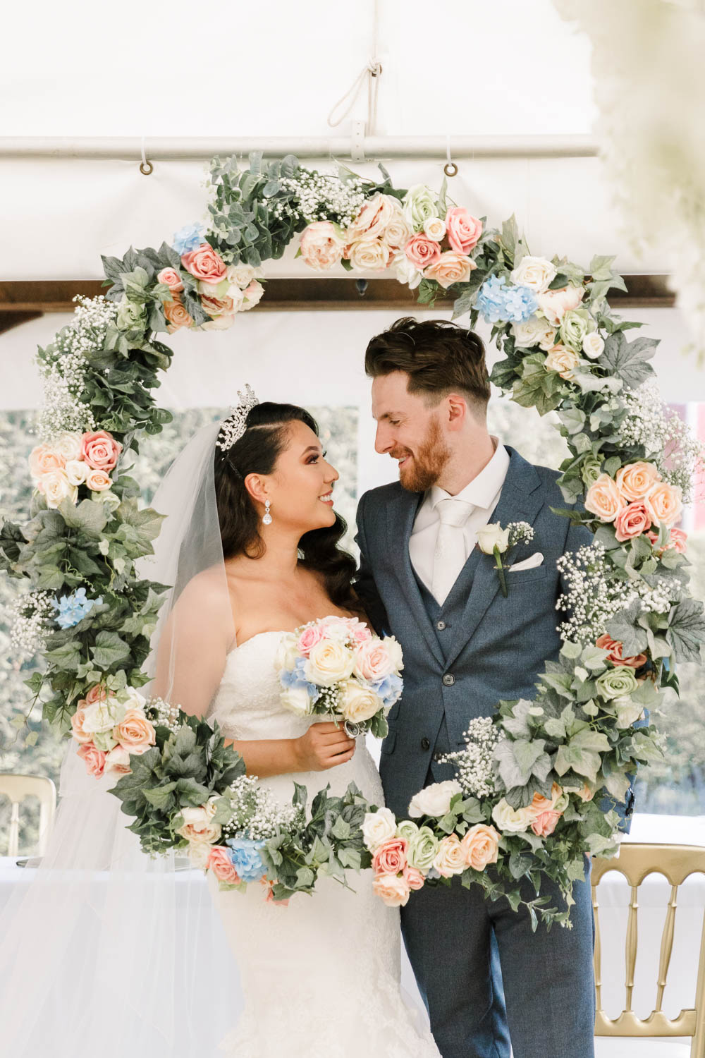 Bride Bridal Fishtail Dress Gown Fit & Flare Tiara Blue Suit Groom Veil Bouquet Rose Hydrangea Floral Hoop Brewerstreet Farmhouse Wedding Danielle Smith Photography