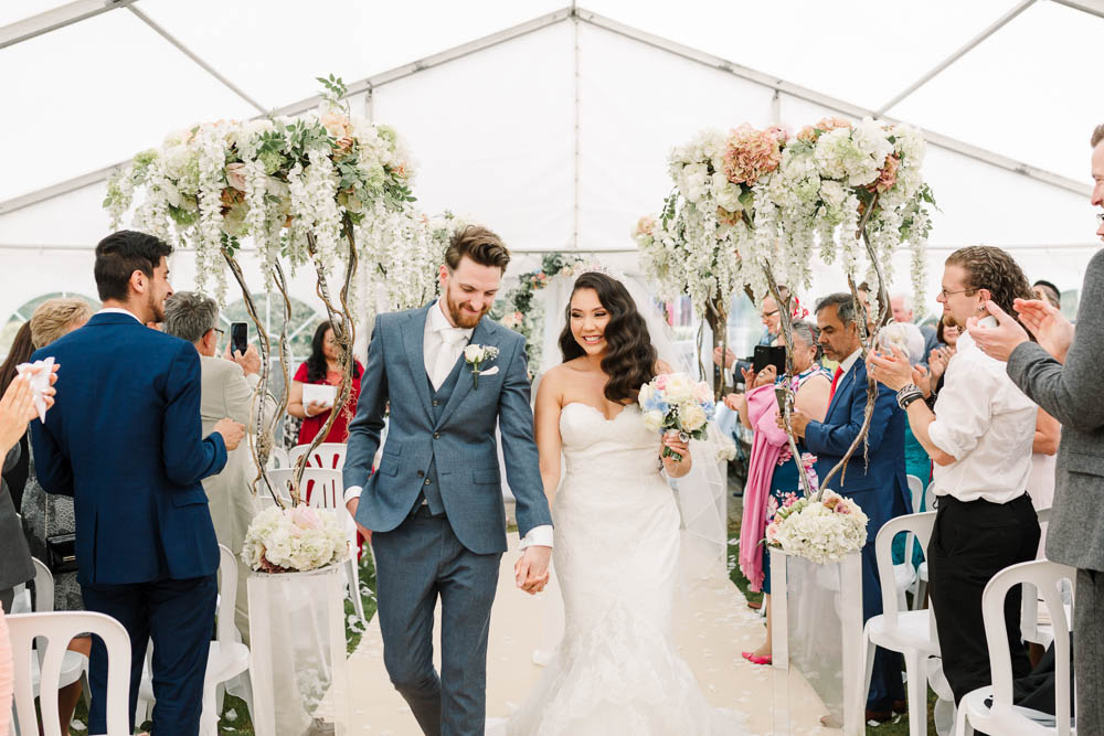 Bride Bridal Fishtail Dress Gown Fit & Flare Tiara Blue Suit Groom Veil Bouquet Rose Hydrangea Brewerstreet Farmhouse Wedding Danielle Smith Photography