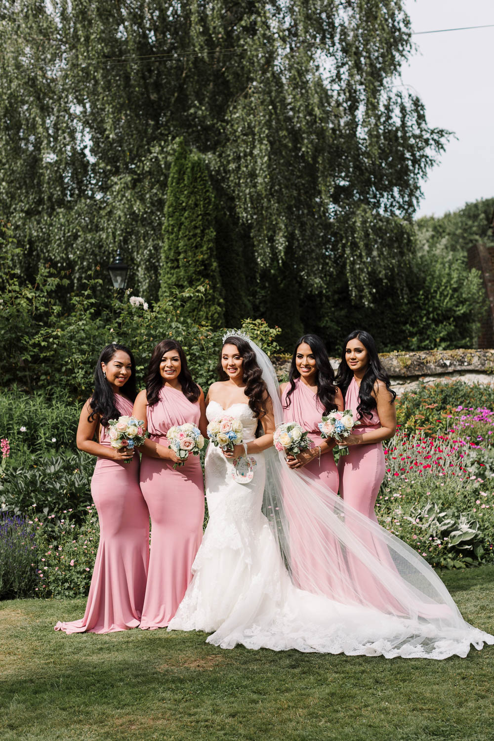 Bride Bridal Fishtail Dress Gown Fit & Flare Tiara Veil Bouquet Rose Hydrangea Pink Floor Length Maxi Bridesmaids Brewerstreet Farmhouse Wedding Danielle Smith Photography