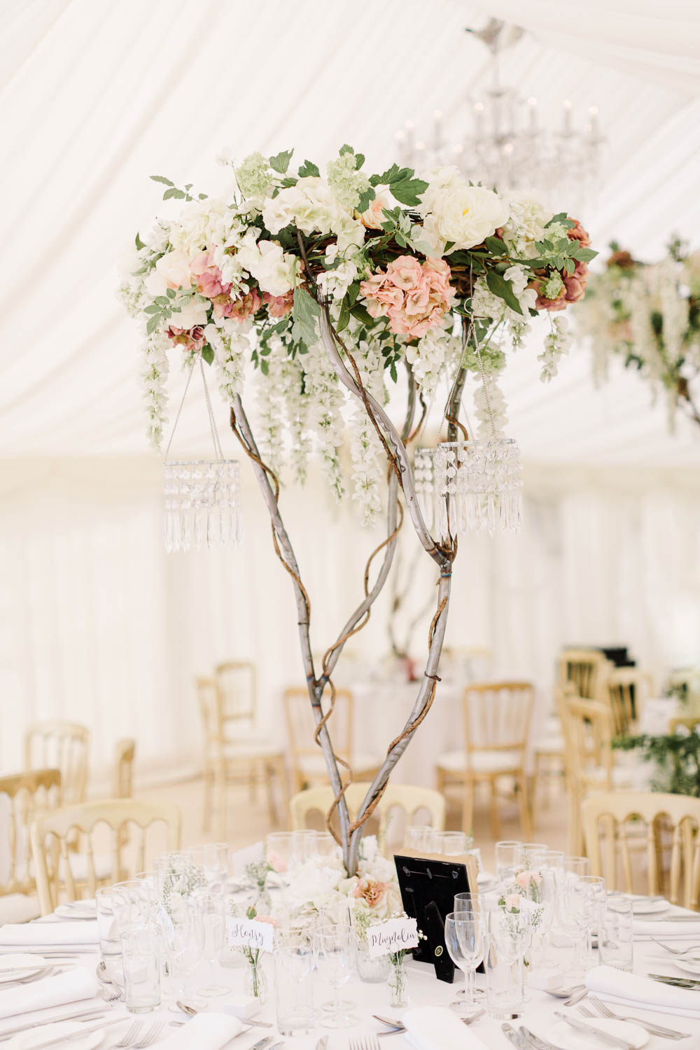 Blossom Tree Floral Chandelier Centrepiece Brewerstreet Farmhouse Wedding Danielle Smith Photography