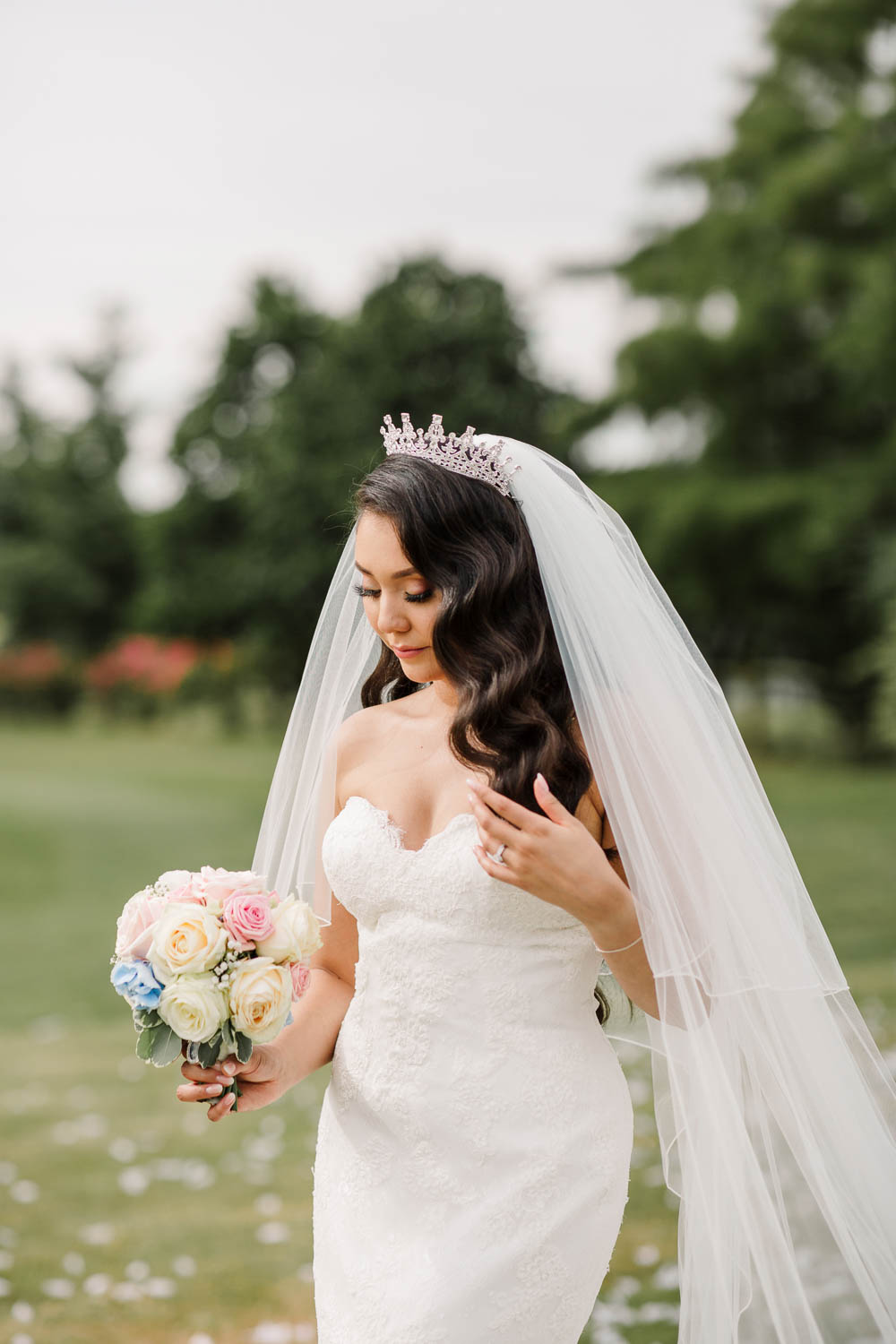 Bride Bridal Fishtail Dress Gown Fit & Flare Tiara Veil Bouquet Rose Hydrangea Brewerstreet Farmhouse Wedding Danielle Smith Photography