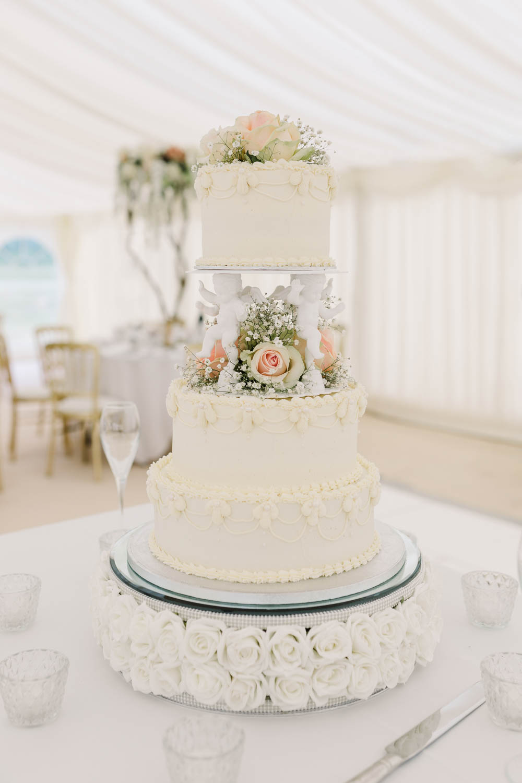 Cake Cherub Pillar Stand Iced Traditional Rose Gypsophila Brewerstreet Farmhouse Wedding Danielle Smith Photography