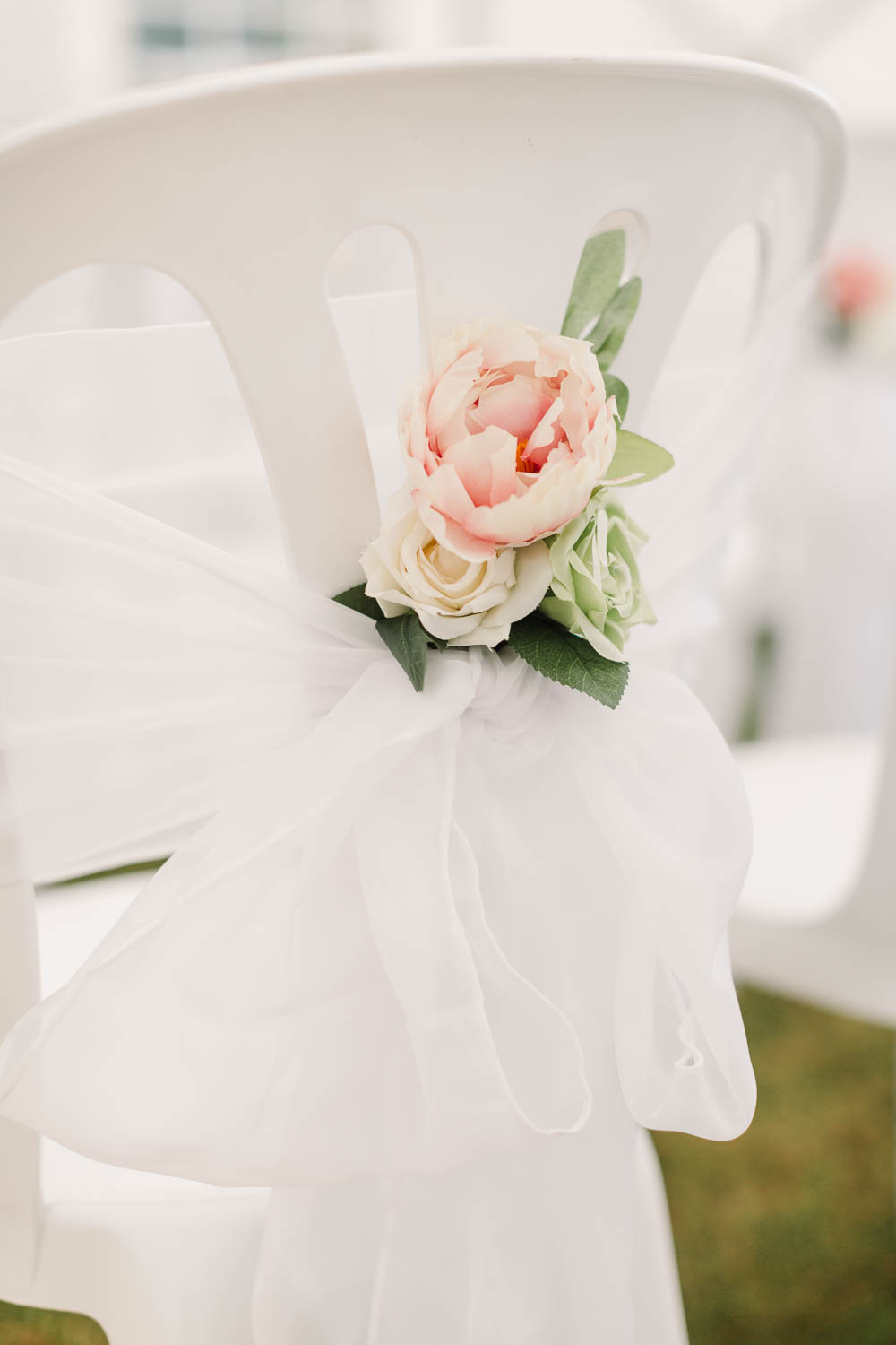 Chair Tie Back Peony Voile Tulle Sash Brewerstreet Farmhouse Wedding Danielle Smith Photography