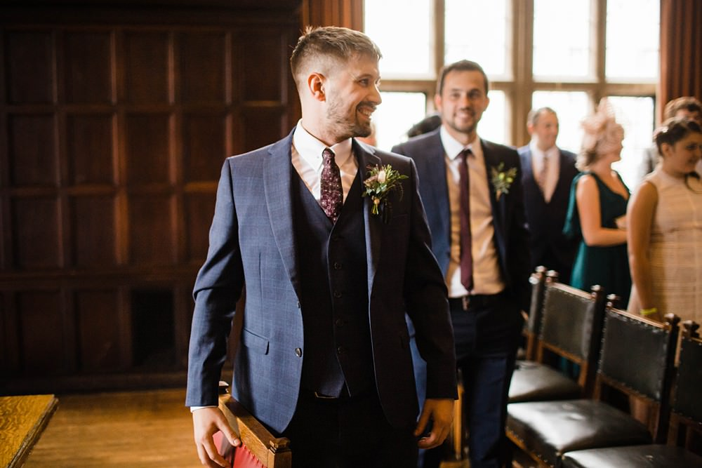 Groom Suit Blue Check Cherwell Boathouse Wedding Claudia Rose Carter Photography