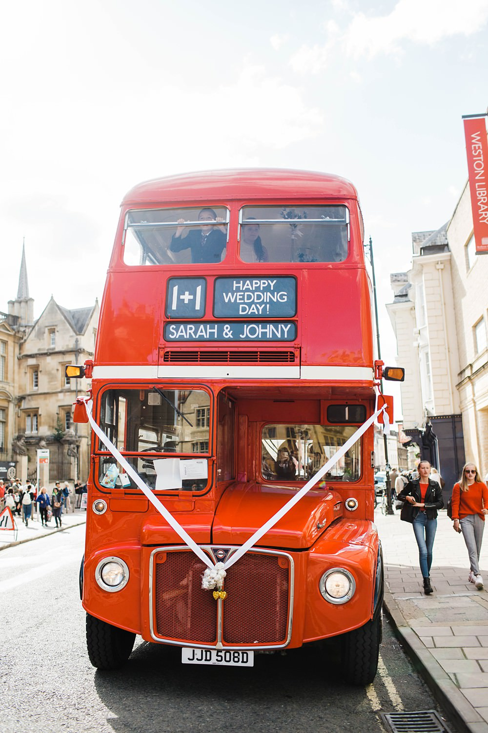 London Red Bus Transport Cherwell Boathouse Wedding Claudia Rose Carter Photography
