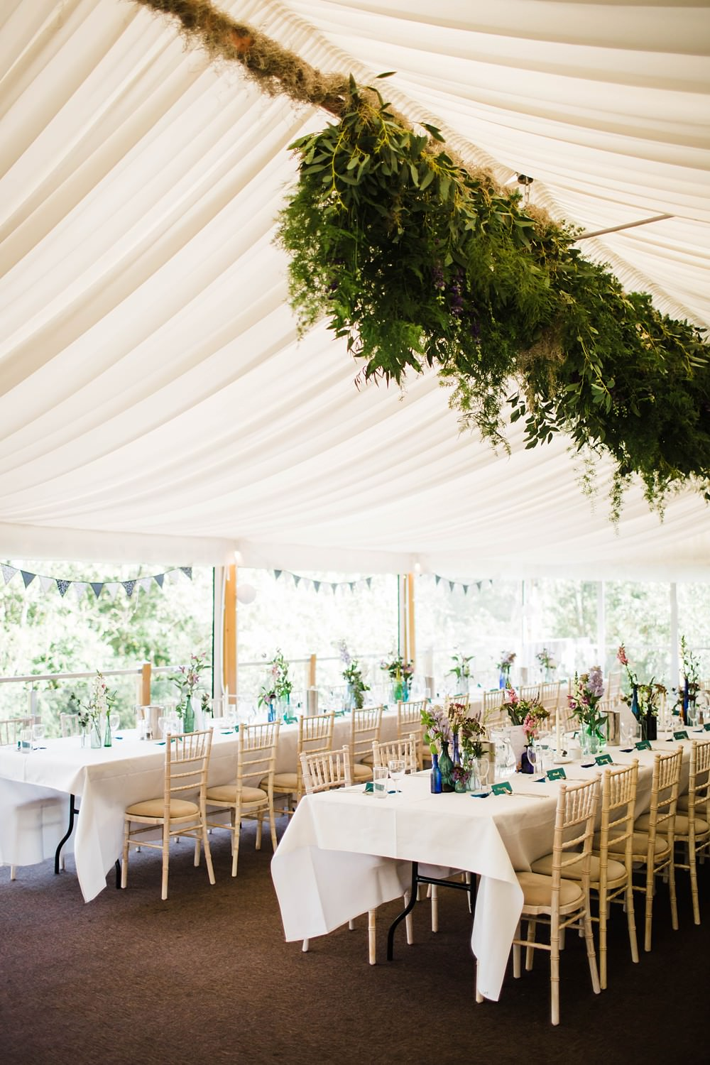 Marquee Suspended Hanging Foliage Greenery Installation Decor Cherwell Boathouse Wedding Claudia Rose Carter Photography