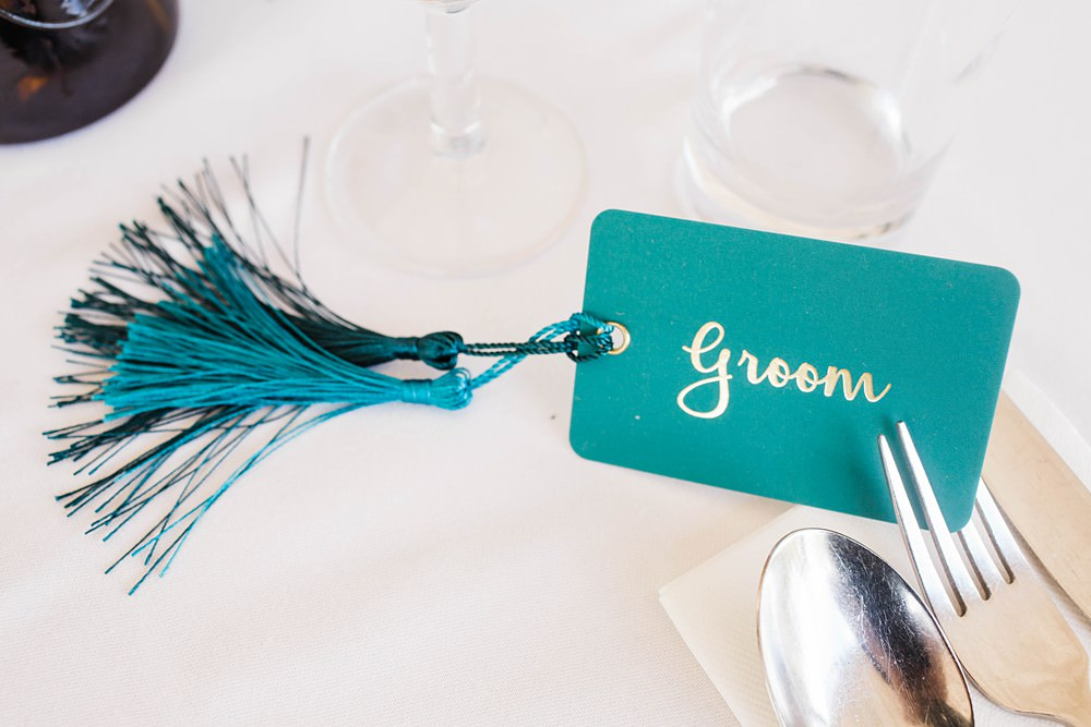 Green Blue Place Name Card Tassel Cherwell Boathouse Wedding Claudia Rose Carter Photography