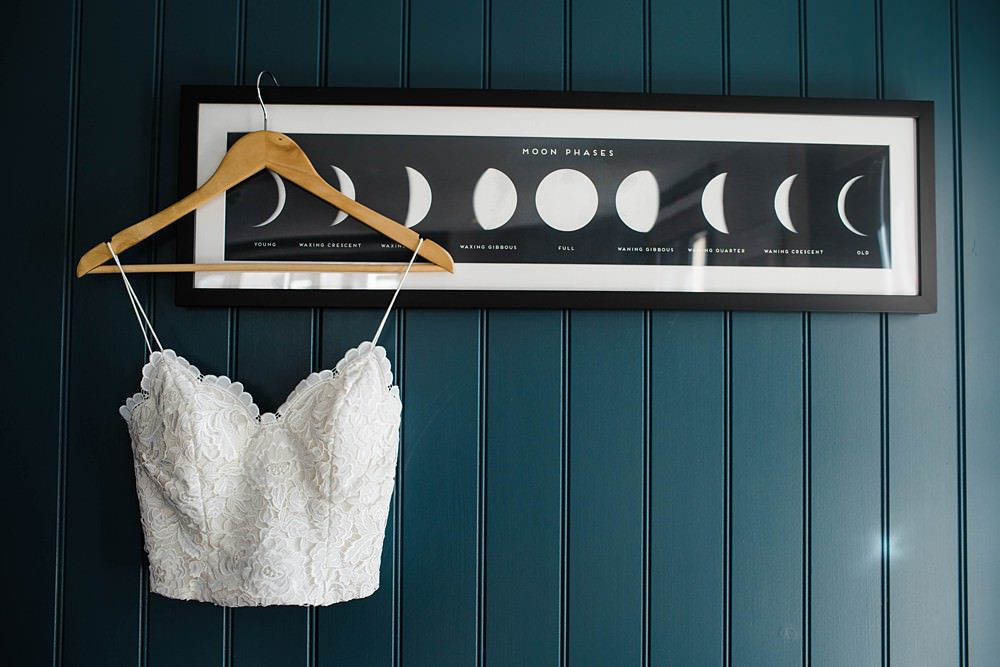 Celestial Moon Phase Print Art Dress Shot Photo Cherwell Boathouse Wedding Claudia Rose Carter Photography