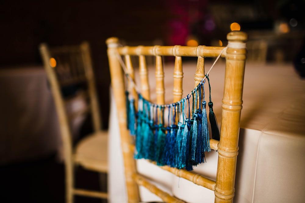 Blue Green Chair Tassel Backs Decor Cherwell Boathouse Wedding Claudia Rose Carter Photography