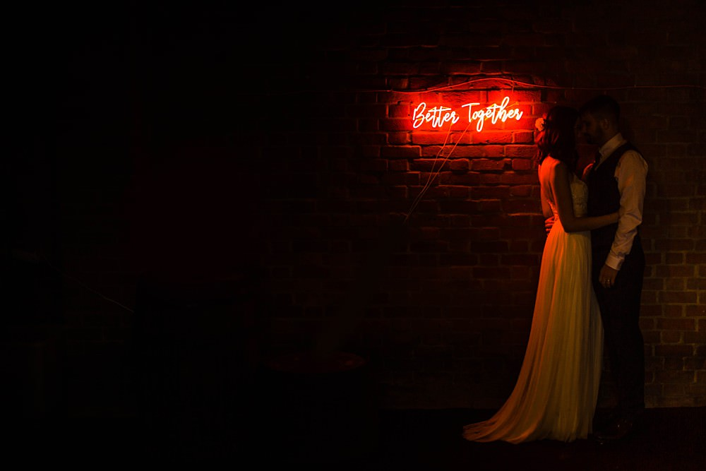 Neon Sign Cherwell Boathouse Wedding Claudia Rose Carter Photography