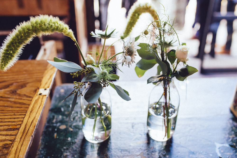 Table Flowers Centrepeice Decor Greenery Foliage Bottles Clapton Country Club Wedding Curious Rose Photography