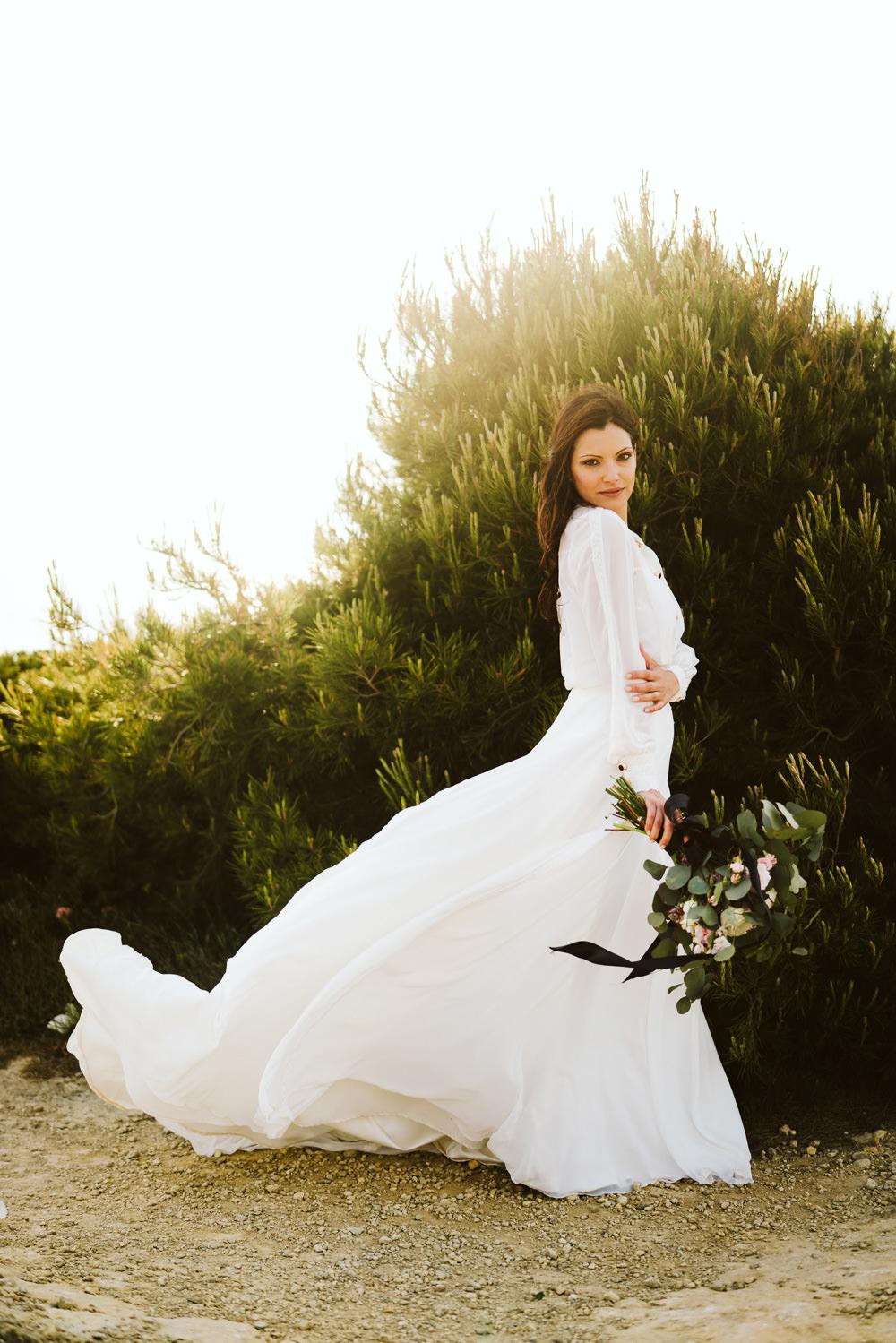 Dress Gown Bride Bridal Buttons Skirt Long Sleeves Clifftop Portugal Wedding Ideas John Barwood Photography