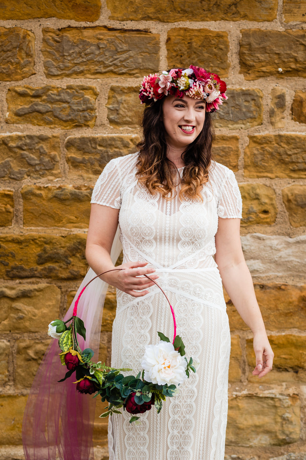 Bride Bridal Dress Lace Sleeves Train Ombre Veil Hoop Wreath Flowers Watters Wtoo Colourful Festival Party Wedding Emma and Rich Photography