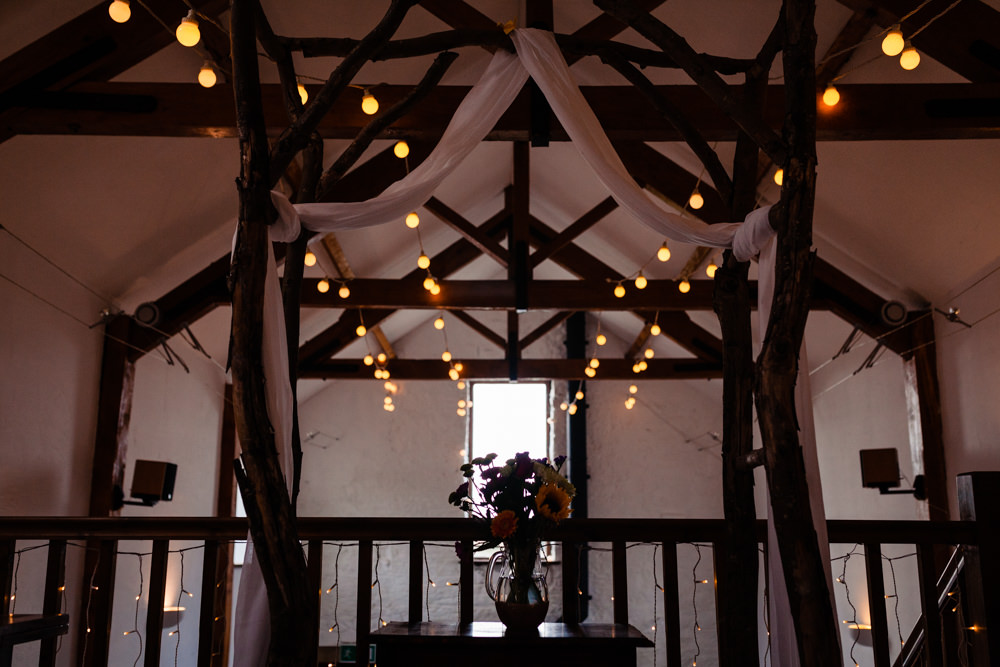 Festoon Lights Drapes Fairy Lights Decor Ceremony Barn Colourful Festival Party Wedding Emma and Rich Photography