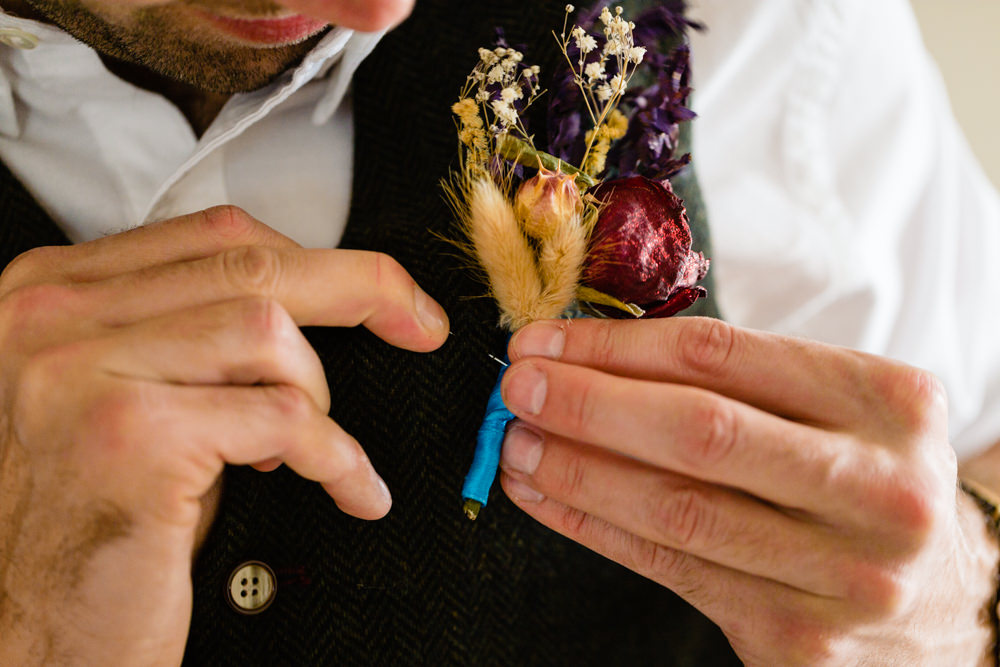 Dried Flower Buttonholes Groom Groomsmen Colourful Festival Party Wedding Emma and Rich Photography