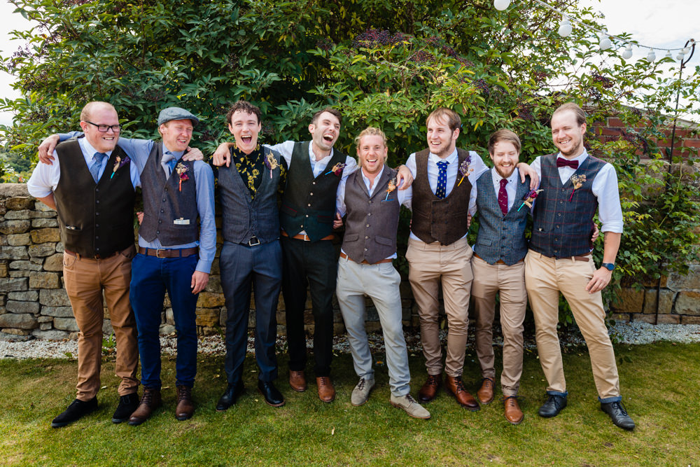 Groom Groomsmen Chinos Waistcoats Mismatched Mix Match Colourful Festival Party Wedding Emma and Rich Photography