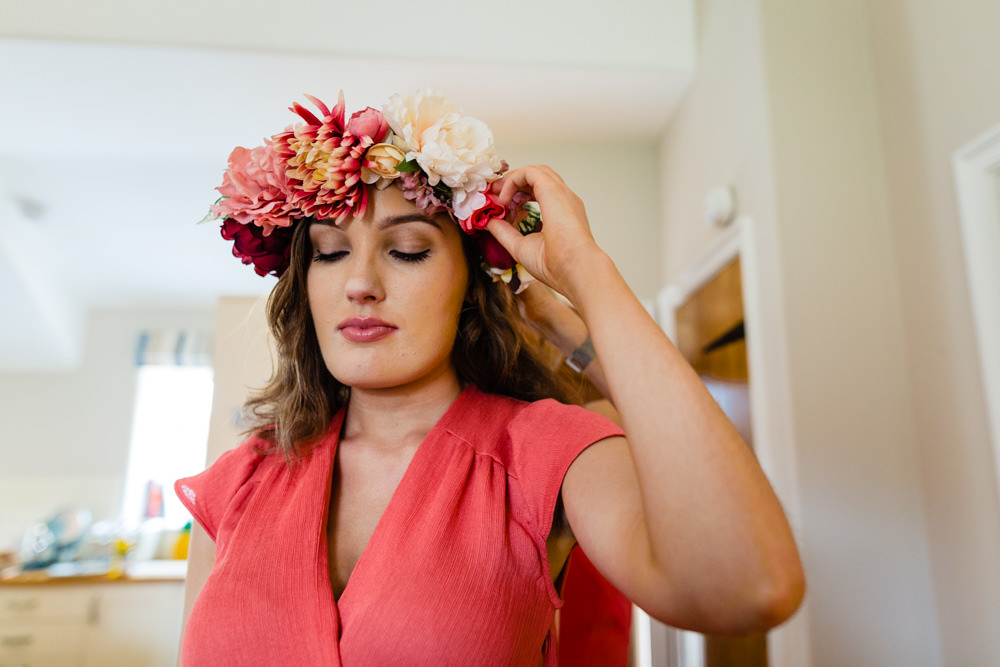 Large Flower Crown Bridesmaid Bridesmaids Cream Red Pink Colourful Festival Party Wedding Emma and Rich Photography