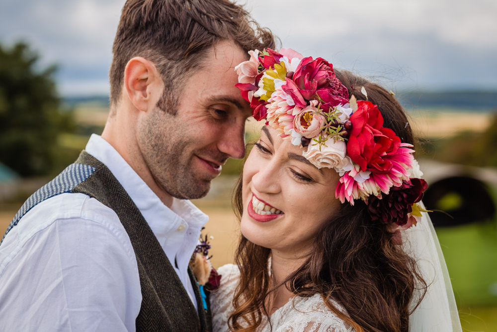 Large Flower Crown Bride Bridal Cream Red Pink Colourful Festival Party Wedding Emma and Rich Photography